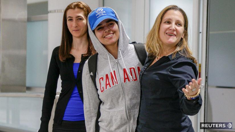 Kanada, Rahaf Al kukúnová, azyl, útek, Freelandová