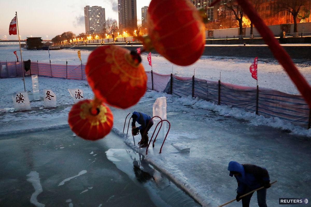 Čína, festival, lampióny, ľad, zima