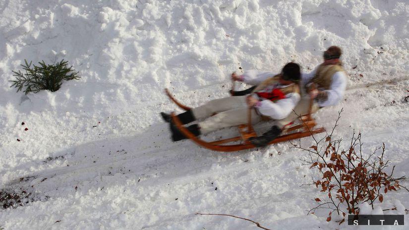 sane, krňačky, sneh, Krnohové preteky