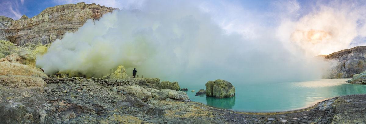 kráter, Ijen, Jáva, Indonézia, síra, dym, baníci