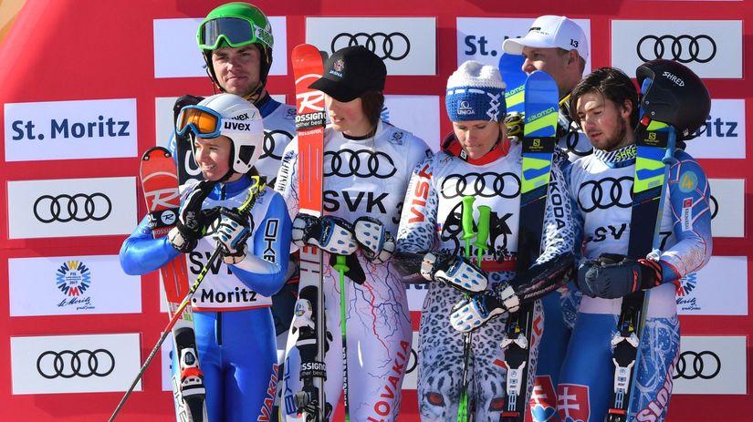 St. Moritz, lyžiari