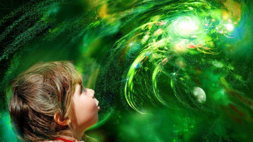 dieťa, vesmír, planéty, objav, údiv, hviezdy,...