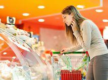potraviny, žena, nákup, obchod, košík