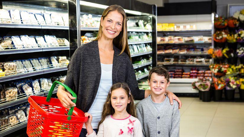 potraviny, nákup, žena, deti, rodina