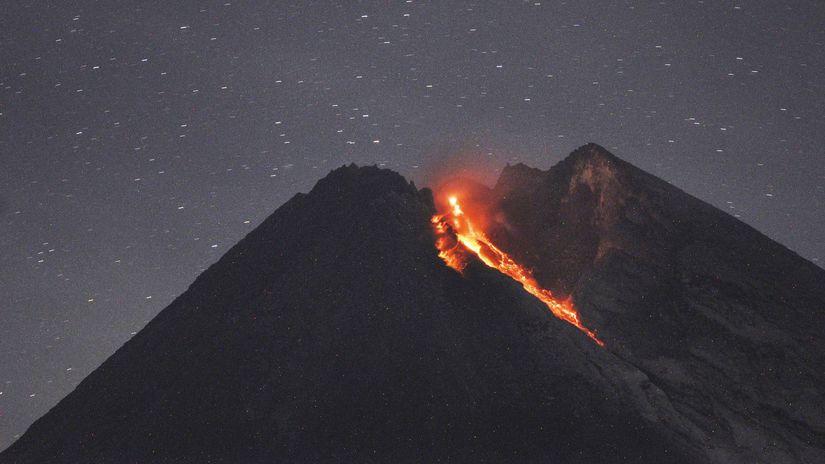 sopka Merapi, indonézia, láva