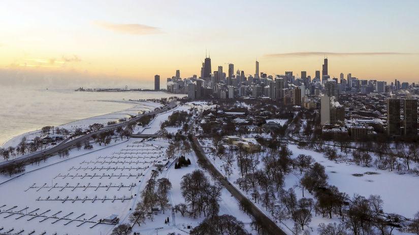 USA  Chicago počasie sneh mrazy