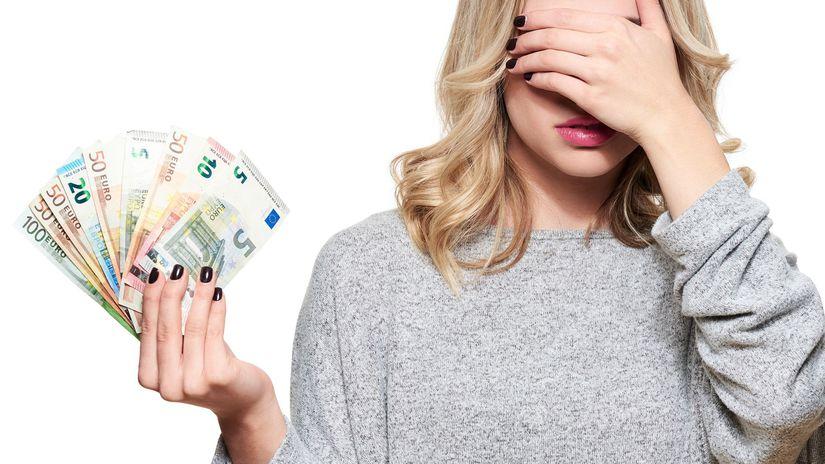 žena, peniaze, práca, eurá