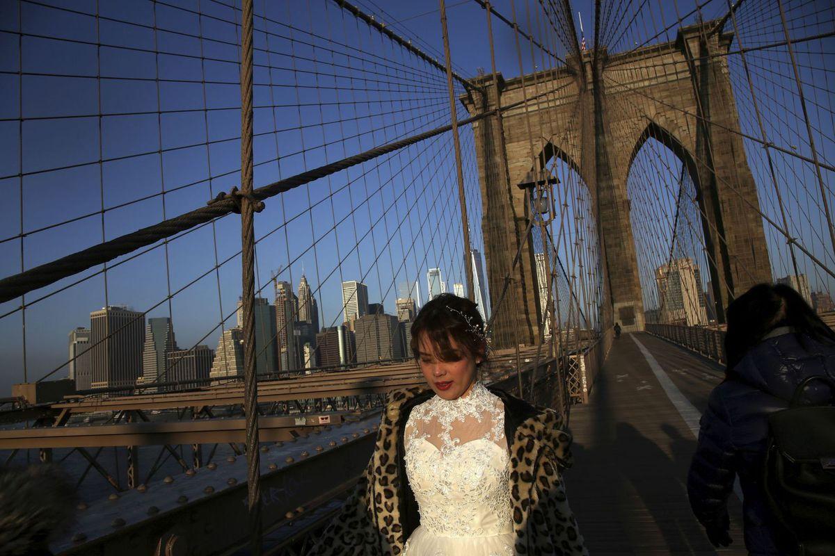 New York, Brooklyn Bridge, most, nevesta, svadba, USA