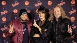 Trio koučov The Voice Česko Slovensko - zľava: Raper Kali, speváčka Jana Kirschner a rocker Pepa Vojtek.