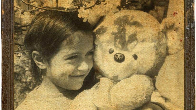 dieťa, hračka, medvedík, macko, retro, stará...