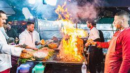 Marrákeš, trhovisko, varenie, jedlo kuchári, Maroko