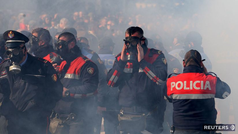 albánsko, protest