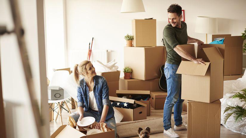 muž, žena, bývanie, sťahovanie