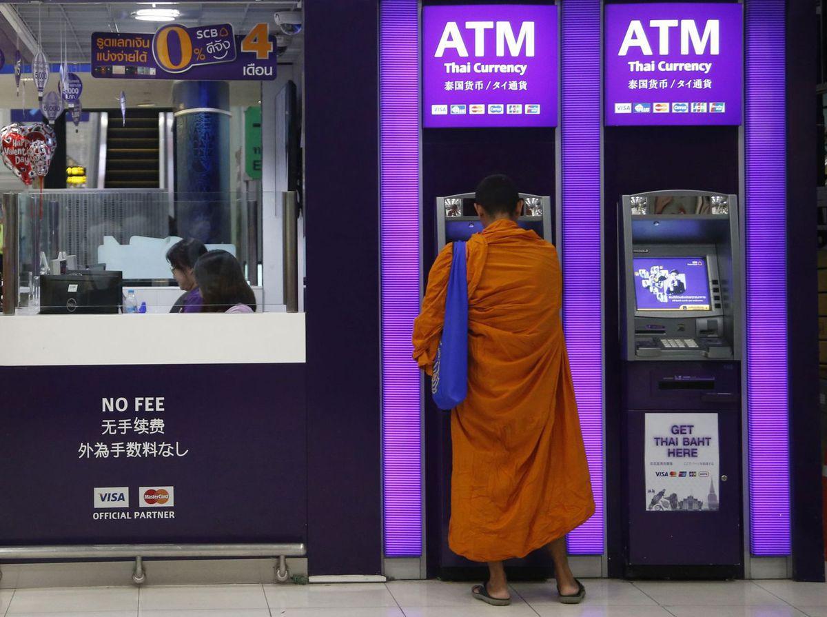 Thajsko, mních, bankomat, budhista