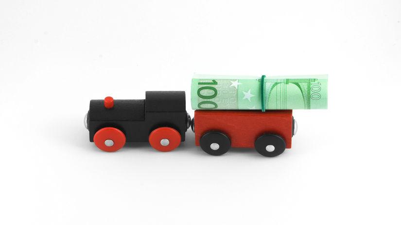 vlak, peniaze, eurá