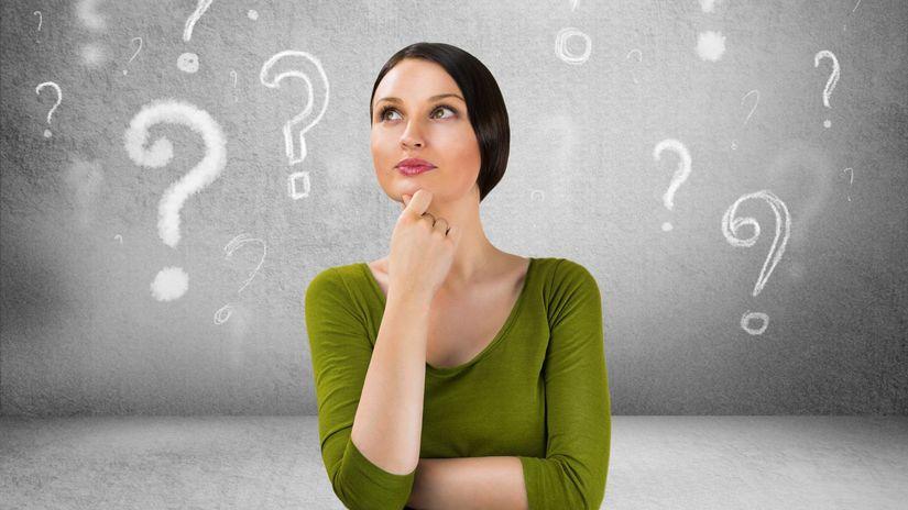 žena, otázka, otáznik