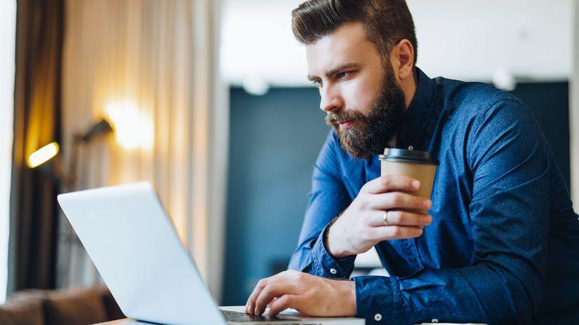 muž, káva, laptop, notebook