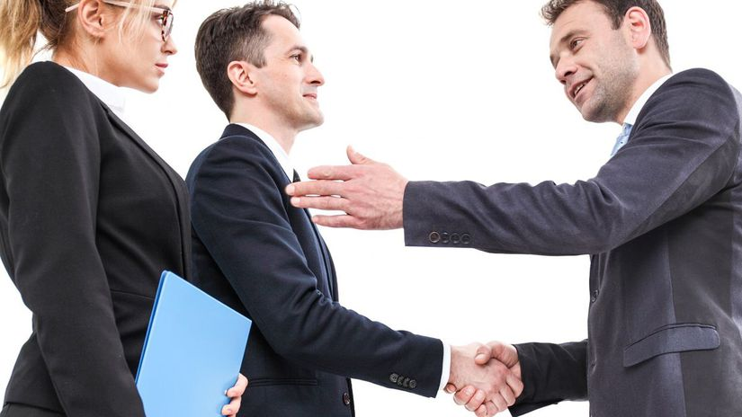 muž, žena, dohoda, podanie ruky