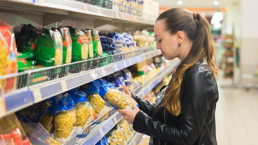 žena, potraviny, obchod, nákup