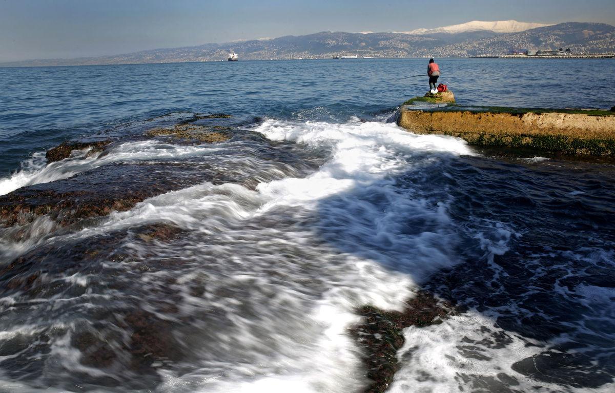 Libanon, more, rybár