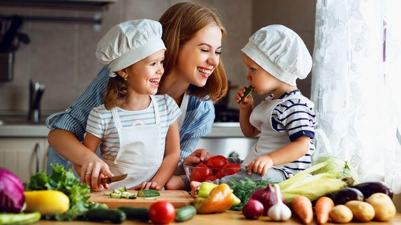 matka, deti, varenie, jedlo