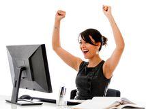 radosť, žena, kancelária