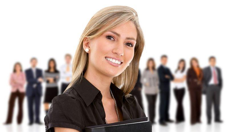 žena, firma, zamestnanci