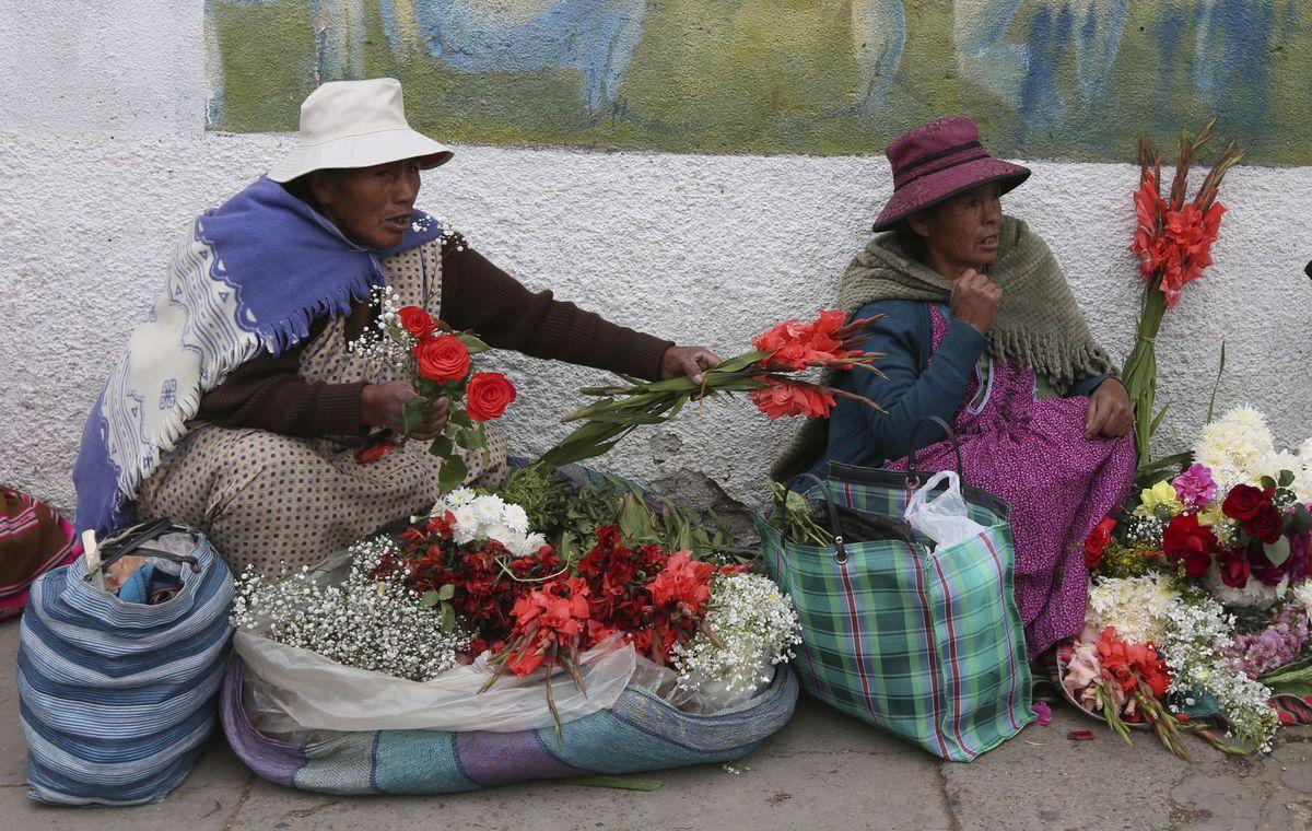 Bolívia, ženy, kvety, predaj, La Paz