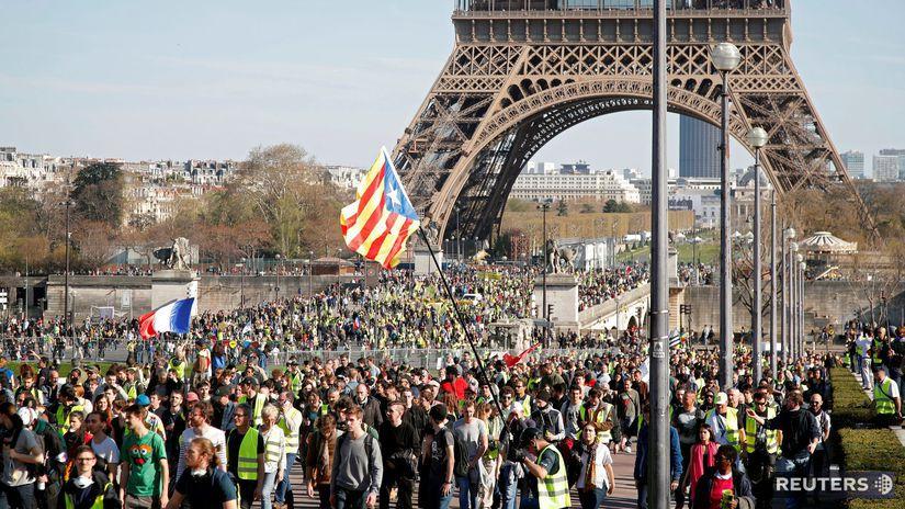 Francúzsko, protest žlté vesty, paríž, Eiffelovka