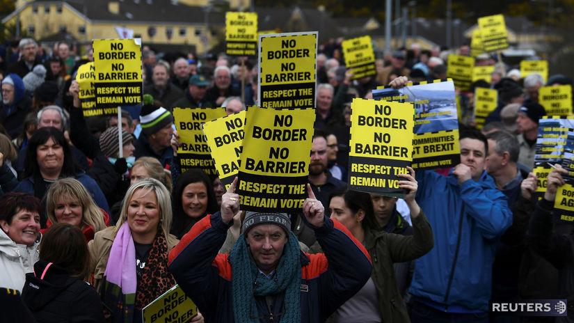 Brexit, írsko, hranice, demonštrácia, protest