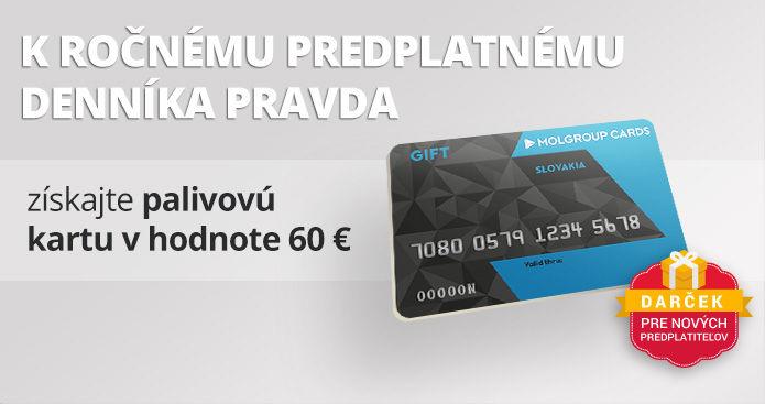 Ročné predplatné s palivovou kartou v hodnote 60 €