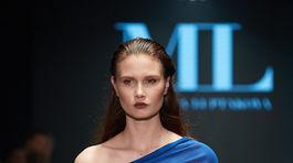 Modelka počas prehliadky kolekcie Jar/Leto 2019 od Michaely Ľuptákovej.