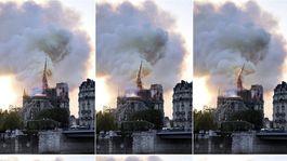 požiar paríž notre-dame veža vežička sanktusík koláž francúzsko