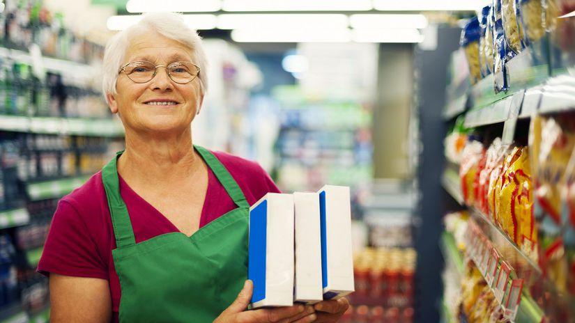 dôchodca, potraviny, senior