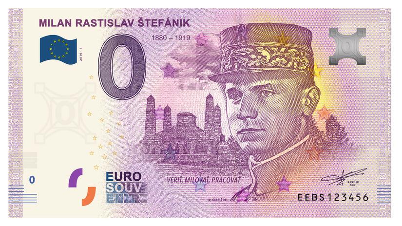 Generál Štefánik na eurobankovke