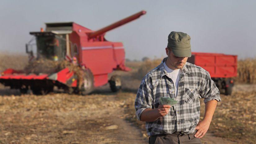 pôda, farmár, kombajn