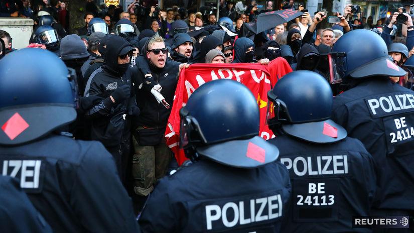 nemecko, prostest, demonštrácia, polícia,...