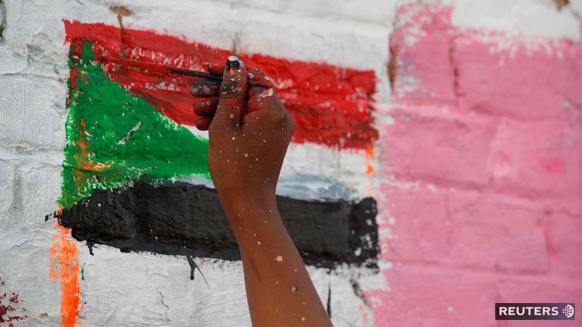 Sudán / vlajka / maľba /