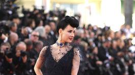 Burleskná umelkyňa Dita Von Teese pózuje fotografom na filmovej premiére v Cannes.