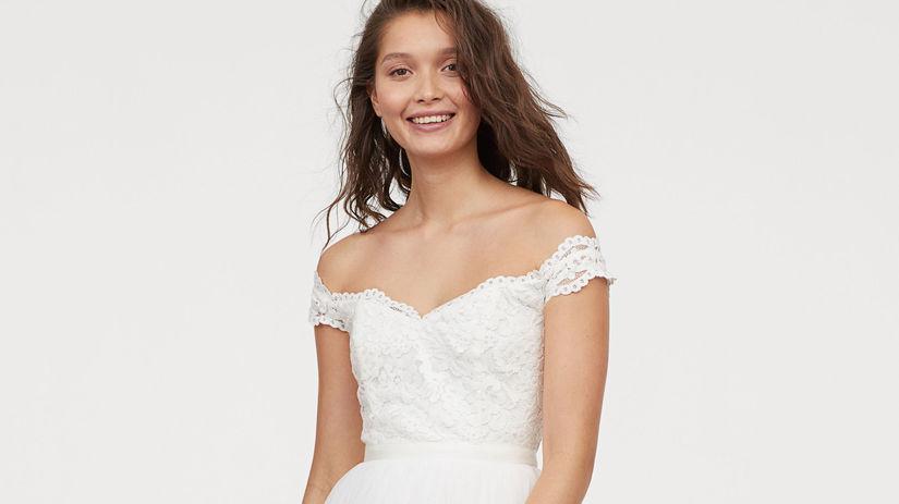 Tylové svadobné šaty s čipkou z kolekcie H&M,...