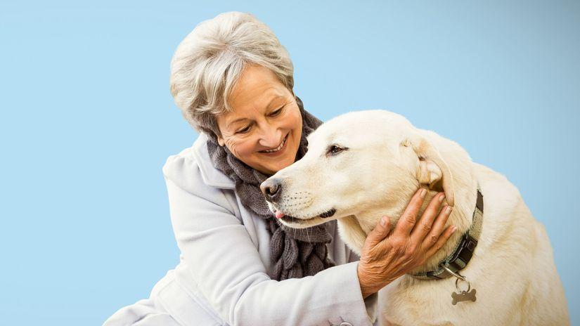 dôchodkyňa, pes