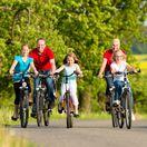 cyklisti, bicykel, rodina, šport, pohyb