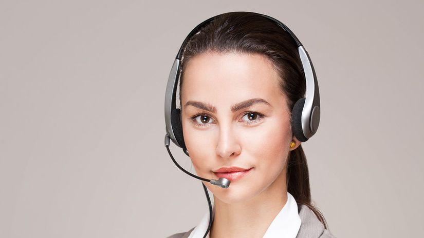žena, telefon, call centrum