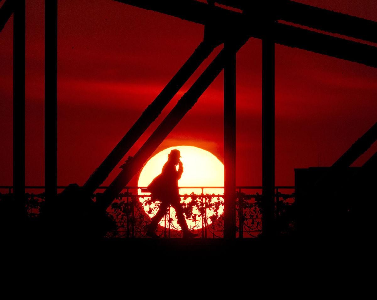slnko, človek, muž, chodec, Frankfurt