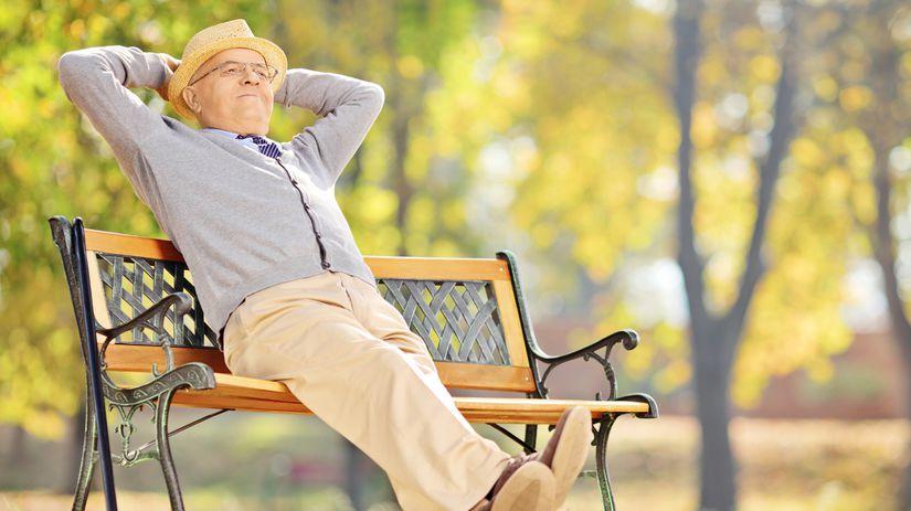 senior, park, relax, oddych, lavička