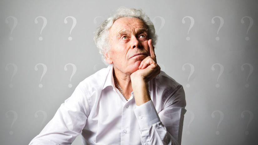 senior, zamyslenie, otázka, otáznik