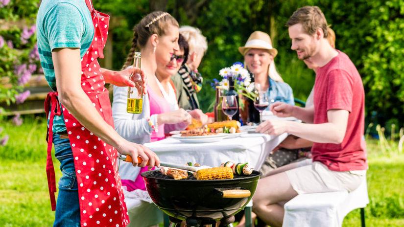 párty, záhrada, grilovanie
