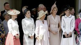 Vojvodkyňa Sophie z Wessexu, španielska kráľovná Letizia, vojvodkyňa Camilla z Cornwallu, holandská kráľovná Maxima a  vojvodkyňa Kate z Cambridge