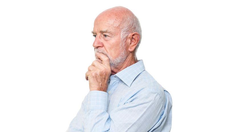 muž, dôchodca, senior, myslenie
