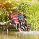 jazero, deti, rodina